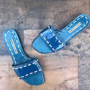 MANOLO BLAHNIK Falco blue patent slide sandals 5.5